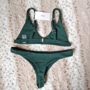 Zaful Swim - NWT Zaful Green Ribbed Bikini 8/L
